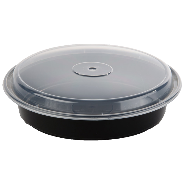 48 Oz Black Microwavable Round Container 9 Inch