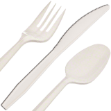 Disposable medium weight spoon, knife and fork