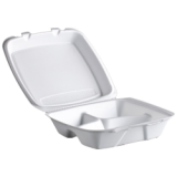 Clamshell divided container