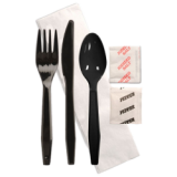Black Fork, Knife, Spoon, Napkin, Salt & Pepper Kit