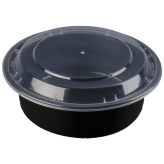 32oz Black Microwavable Round Container (7 inch Deep)