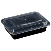 38oz Black Microwavable rectangular Container