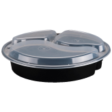 39 oz Black Microwavable 3 Compartment Round Container (9 inch)