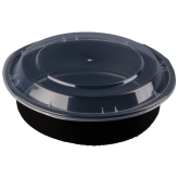 24oz Black Microwavable Round Container (7 inch Shollow)