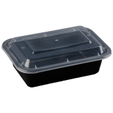 24oz Black Microwavable rectangular Container