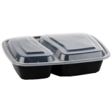 32 oz Black Microwavable rectangular Container (2 Compartment)