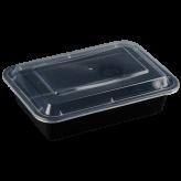 38oz Black Microwavable rectangular Container