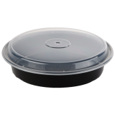 48 oz Black Microwavable Round Container (9 inch)