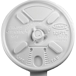 Dart 10FTL White Lift n' Lock Lid for 10J10 Foam Cups